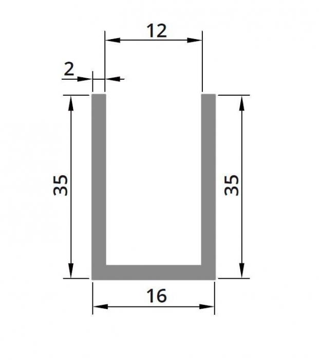 Profil compartimentare U 35x16x2 mm