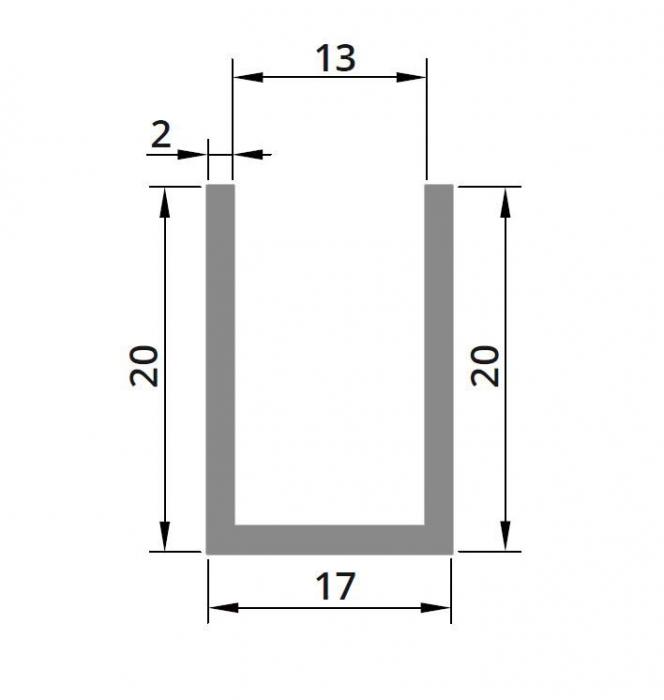 Profil compartimentare U 20x17x2 mm