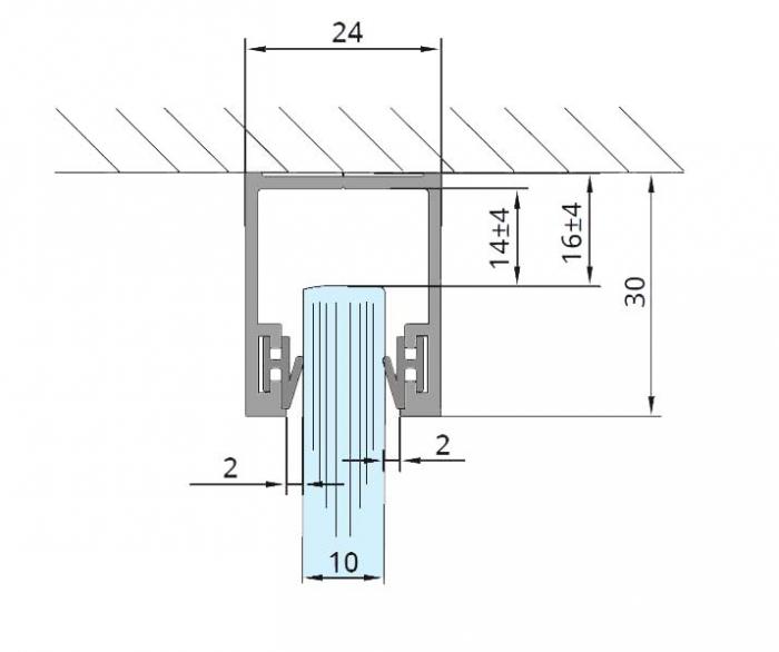 Profil monobloc superior sticla 10 mm