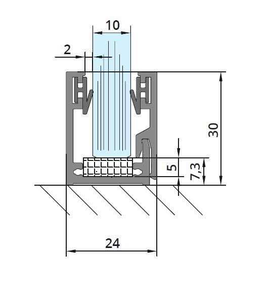 Profil monobloc cu clips inferior sticla 10 mm
