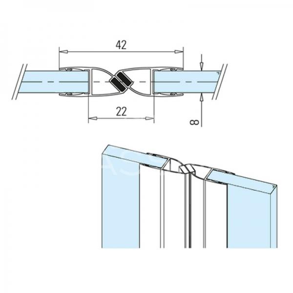 Garnitura magnetica 180° sticla-sticla 8 mm, L=2500 mm