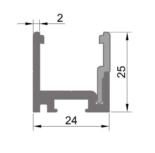 Profil monobloc cu clips inferior