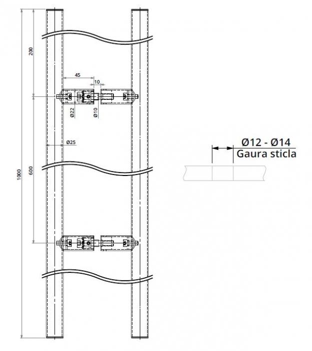 Maner rotund, interax 600 mm, L=1000 mm