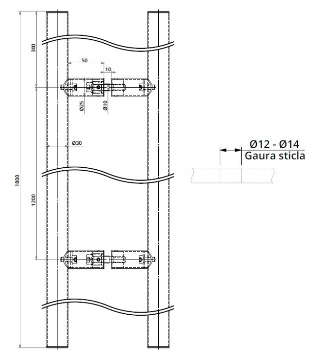 Maner rotund, interax 1200 mm, L=1800 mm