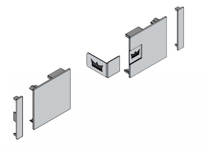 Set capace laterale profil acoperire fixare pe sticla Muto L80