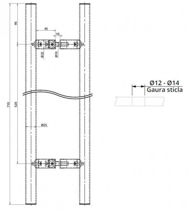 Maner rotund, interax 520 mm, L=700 mm