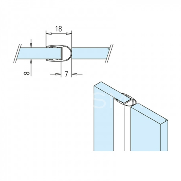 Garnitura tip balon usa sticla-panou fix sticla 8 mm, L=2500 mm