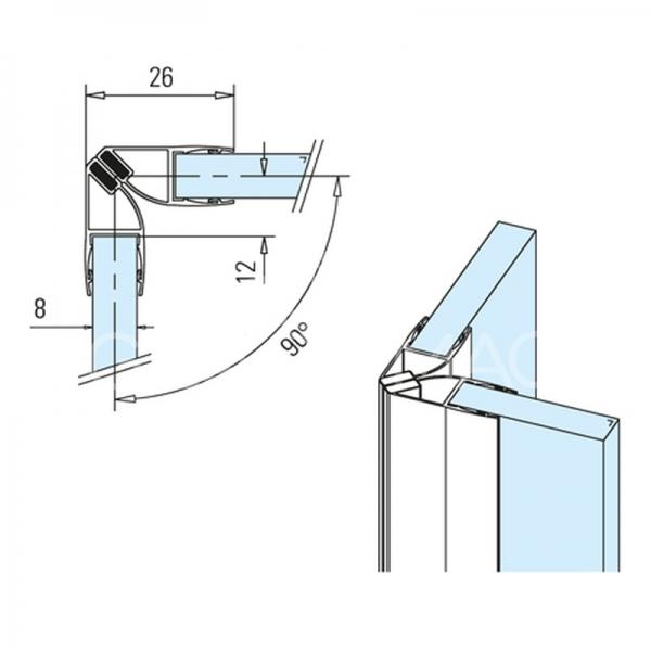 Garnitura magnetica 90° sticla-sticla 8 mm, L=2500 mm