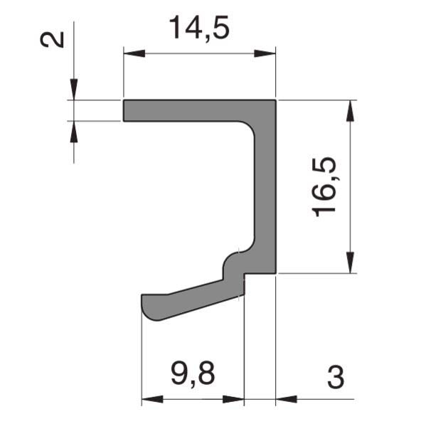 Bagheta profil parte fixa Alexa AT45 sticla 10-12 mm