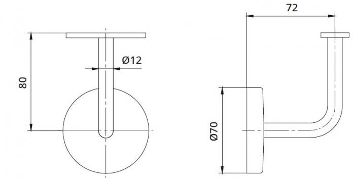 Suport perete 72x80 mm mana curenta patrata 40x40 mm
