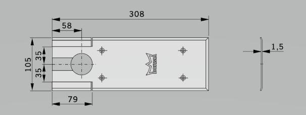 Amortizor pardoseala Dorma BTS 75V EN 1-4 cu placa si insert standard/blocaj la 90º