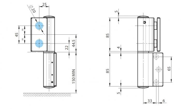 Balama hidraulica Biloba EVO SOL fara blocare fixare pe perete