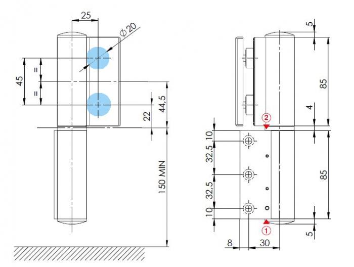 Balama hidraulica Biloba EVO Frame cu blocare 90°/180° fixare pe toc aluminiu