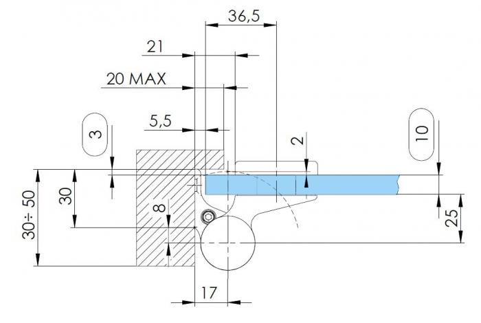 Balama hidraulica Biloba EVO Frame cu blocare 180° fixare pe toc aluminiu