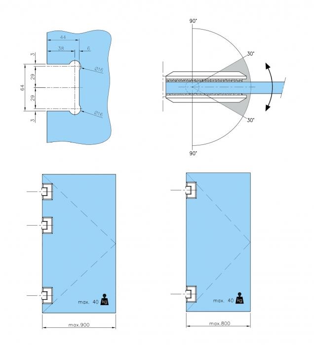 Balama sticla/sticla 180° usa batanta