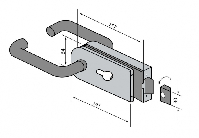 Broasca pentru cilindru usa sticla 8-10 mm