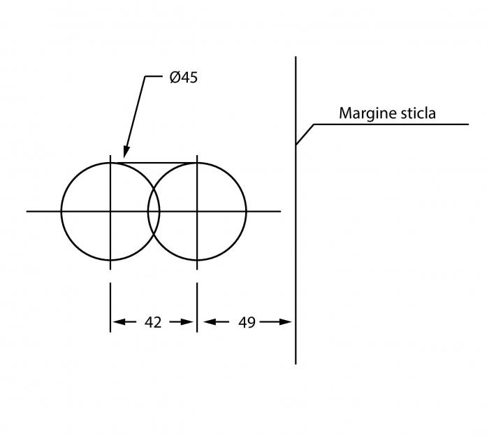 Broasca rectangulara pentru cilindru usa sticla 8-12 mm
