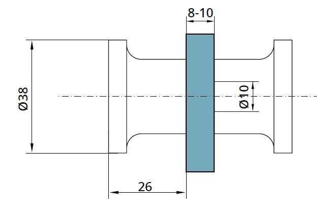 Buton PH106 usa cabina dus sticla 8-10 mm