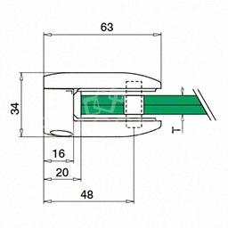 Clema sticla, 45x63mm, G=10.76 mm , inox satinat