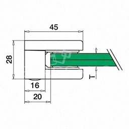 Clema sticla, 45x45mm, G=6.76 mm ,zinc cromat lucios