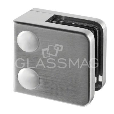 Clema sticla, 45x45mm, G=8.76 mm ,zinc cu efect de inox satinat
