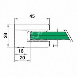 Clema sticla, 45x45mm, G=8 mm ,zinc cromat mat