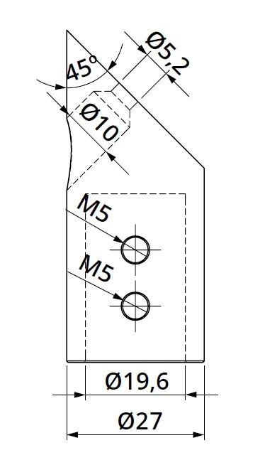 Conector 45° bara stabilizare cabina dus teava/perete