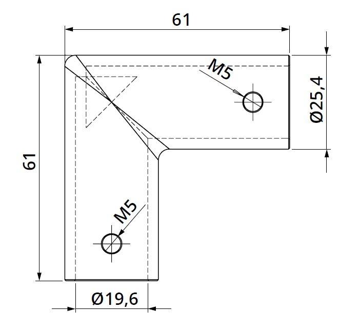 Conector 90° bara stabilizare cabina dus teava/teava