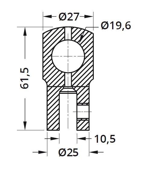 Conector cu trecere 180° bara stabilizare cabina dus teava/sticla