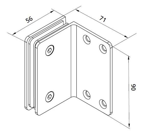 Conector Dorma cabina dus perete/sticla S1000 SHH 308