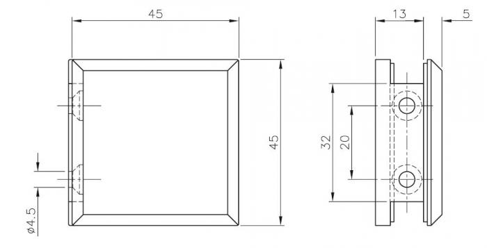 Conector cabina dus perete/sticla 90°