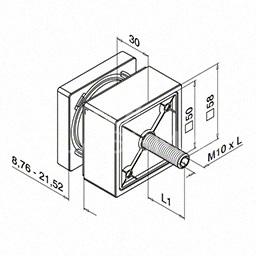 Conector sticla, patrat, 58x58 mm, inox 316 satinat