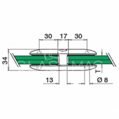 Clema sticla, 45x107mm, G=9.52 mm ,inox satinat