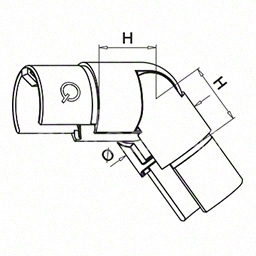 Cot reglabil in jos pentru mana curenta profilata rotunda, Ø48.4x1.5 mm ,inox satinat