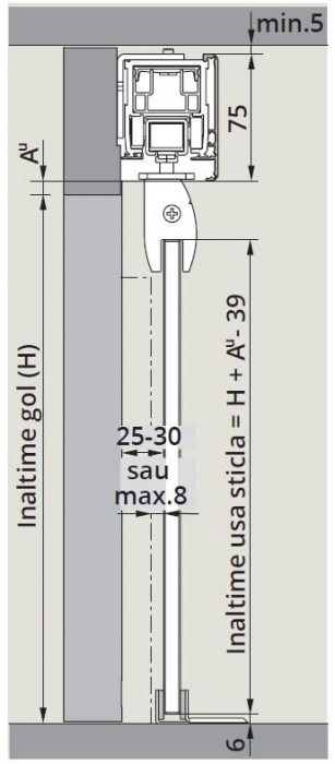 CS80 Magneo cu sistem glisare fixare sticla in profil montaj perete