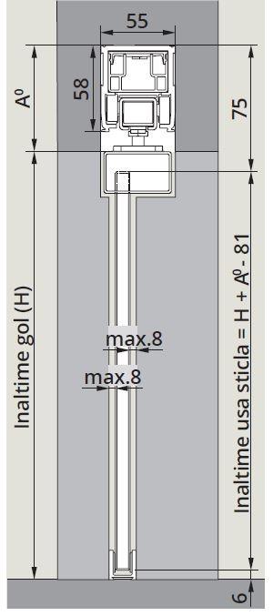 CS80 Magneo cu sistem glisare fixare sticla in profil montaj tavan