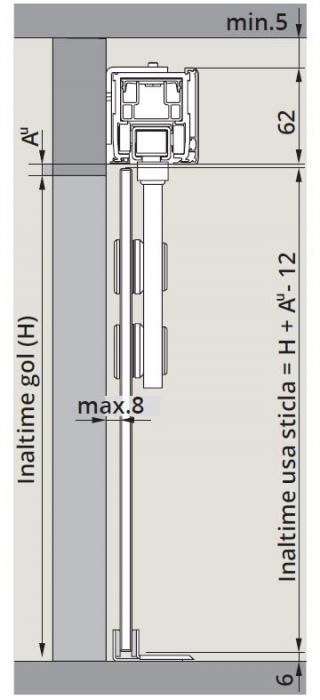 CS80 Magneo cu sistem glisare Manet montaj perete