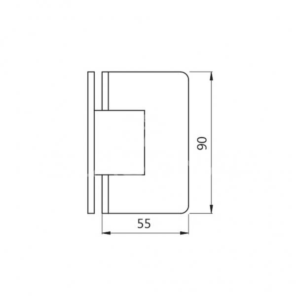 Balama S 1000 SHH 301 perete-sticla dus 90º, talpa intreaga, finisaj lucios