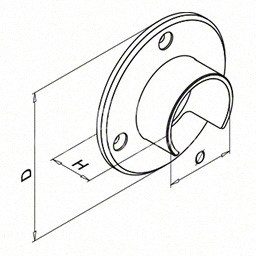 Flansa fixare perete, mana curenta profilata rotunda, Ø48.3mm ,inox satinat