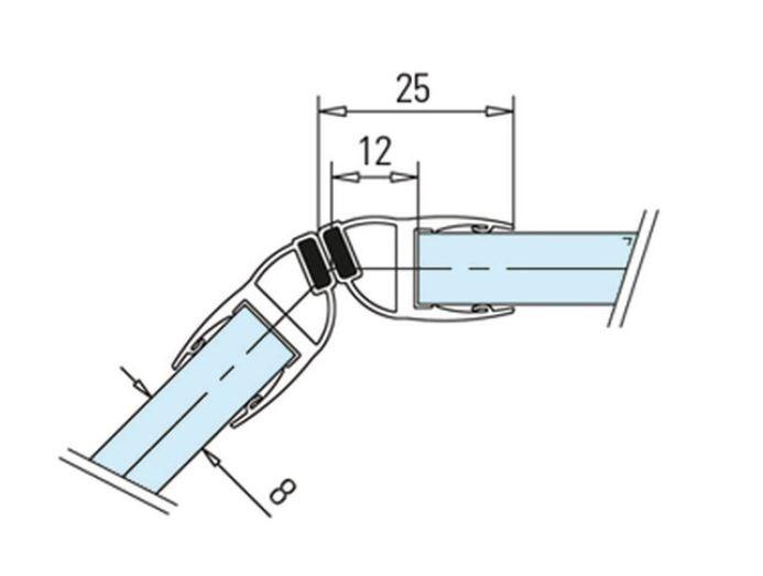 Garnitura magnetica 135° cabina dus sticla 8-10 mm