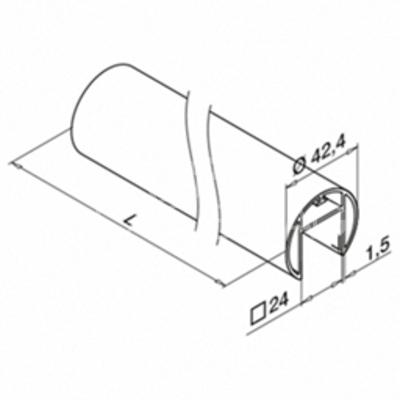 Mana curenta profilata ,Ø42.4 mm ,L=5000 mm ,aluminiu, efect inox satinat