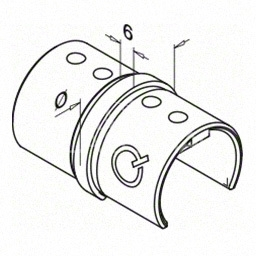 Piesa de legatura  mana curenta profilata rotunda, Ø48.3x1.5 mm ,inox satinat