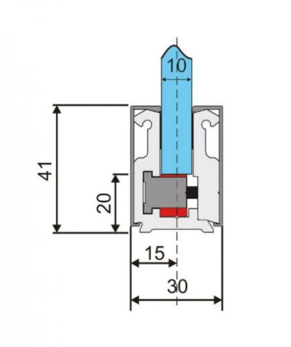 Profil perimetral sticla 10-12 mm