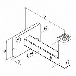 Q-railingSuport perete mana curenta ,Ø42.4 mm ,inox satinat
