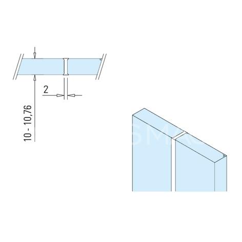 Profil transparent cu fete dublu-adezive, sticla-sticla, L= 3000 mm