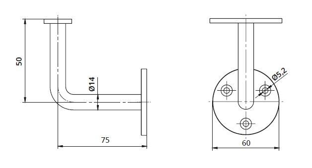 Suport perete 75x50 mm mana curenta patrata 40x40 mm 1
