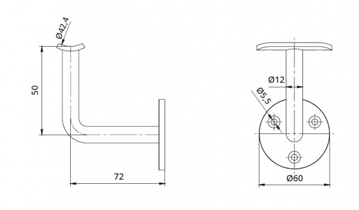 Suport perete 72x50 mm mana curenta rotunda Ø42,4 mm 1