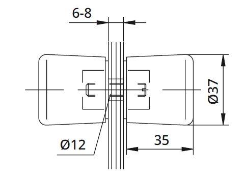 Buton Cristal usa cabina dus sticla 6-8 mm 1
