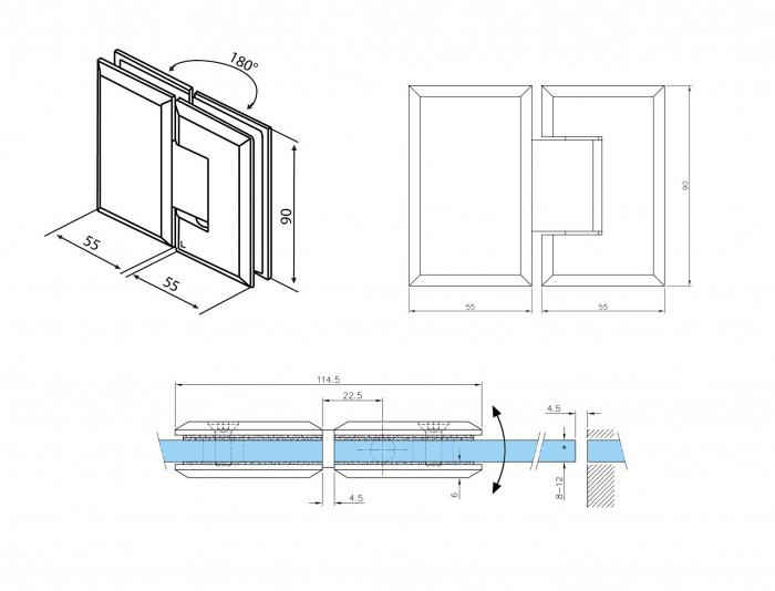 Balama sticla/sticla 180° usa batanta 1