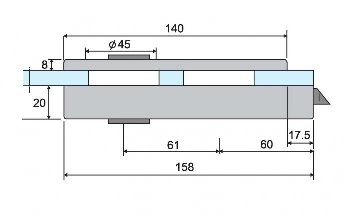 Broasca ovala pentru cilindru usa sticla 8-10 mm 4